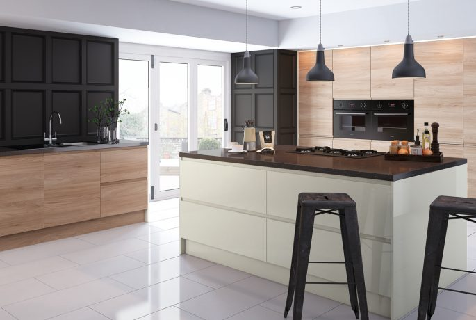 Malton Natural Elm Lacarre Gloss Cream Kitchen