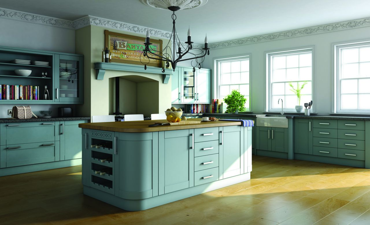 Paintable Tropez Blue Shaker Kitchen – Malvern Kitchens Ltd