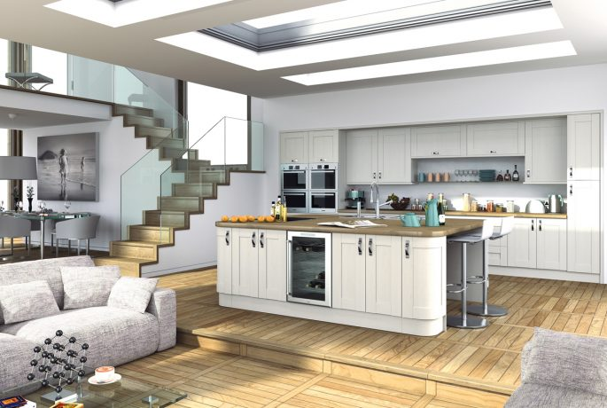 Wilton Woodgrain White Paintable Kitchen